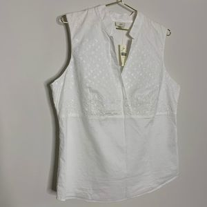 NWT J. Jill White Embroidered Eyelet Top Large 39